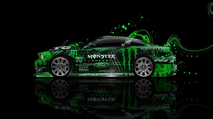 Bon Monster Energy Ford Mustang GT Side Muscle Plastic