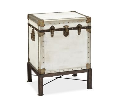 Ludlow Trunk with Stand Side Table, Black   Decoración