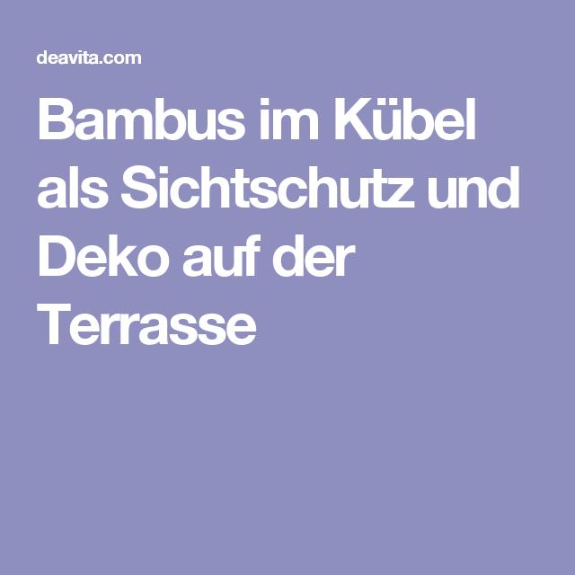 Bambus Im Kübel Als Sichtschutz Und Deko Auf Der Terrasse | Garten ... Tipps Sichtschutz Garten Privatsphare