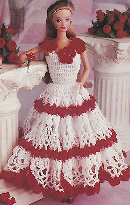 Crochet Pattern ~ FASHION DOLL Valentine Dress Gown ~ Instructions