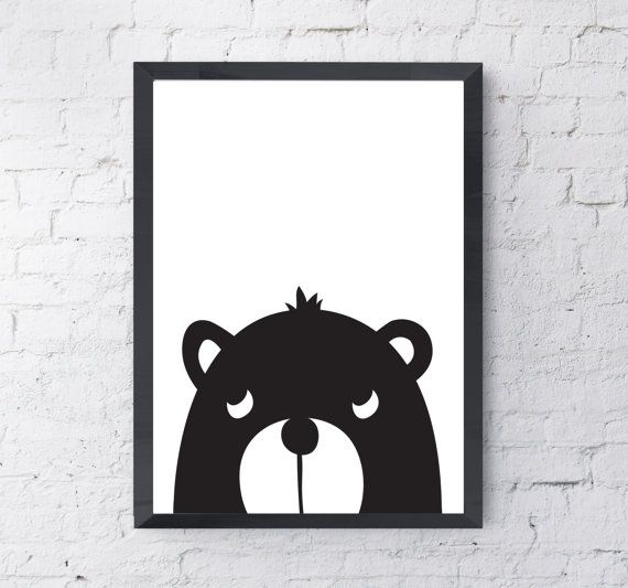 Kids bear illustration childrens print digital download printable poster black white nursery wall art kids print monochrome nursery
