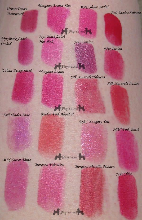 Photo of Bright Pink / Magenta / Fuchsia Lipstick swatches