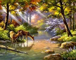Most Beautiful Nature Paintings Google Search Forest Painting Deer Painting Nature Paintings