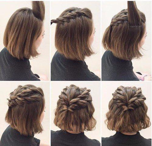 Einfache Nette Frisur Für Kurzes Haar Tutorium Frisur Pinterest