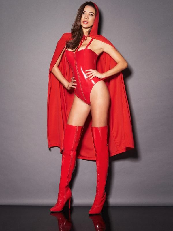 9a39ec87b1d ... Ravishing Riding Hood from Frederick's of Hollywood and let them  witness every move you make. Pair with the Kyra High Shine Zipper Bodysuit  and Patent ...