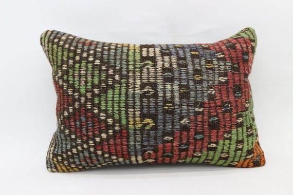Turkish Kilim Pillow, 16x24 Rustic Pillow, Covers Pillow, Red Pillow,Traditional Pillow, Embroidered