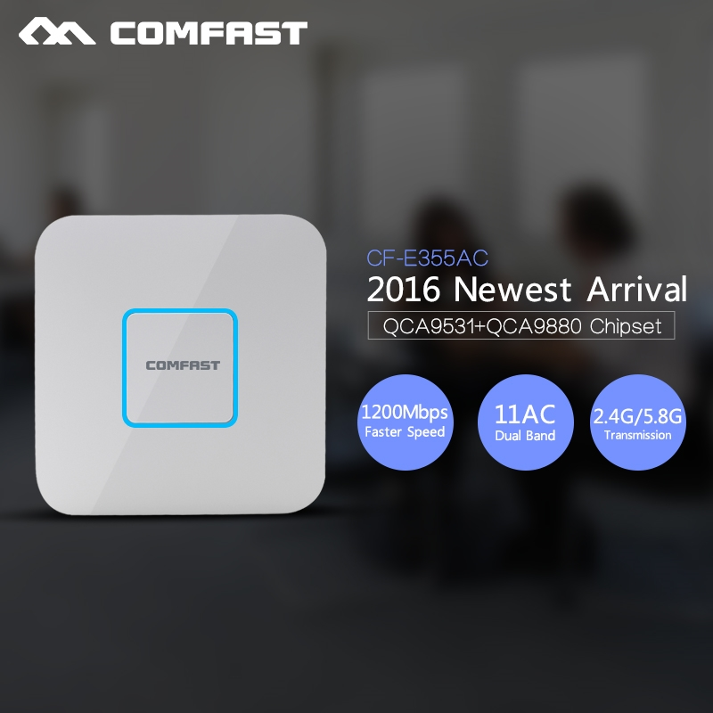 99.33$  Watch now - http://alipr2.worldwells.pw/go.php?t=32791192529 - COMFAST 1200Mbps Gigabit WIFI router Ceiling AP 802.11AC 5.8G+2.4Ghz Qualcomm chipset Wifi repeater CF-E355AC WiFi Access Point 99.33$