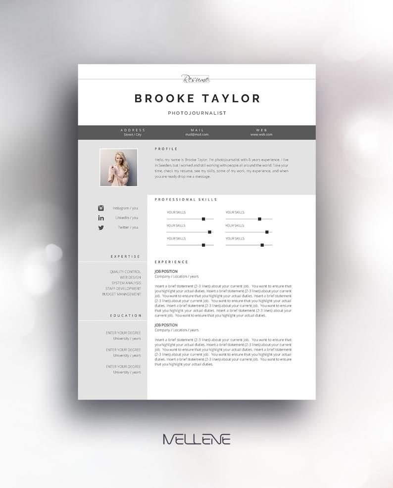Resume Template 3 Page Cv Template Cover Letter Instant Etsy Cv Resume Template Cv Template Resume Template