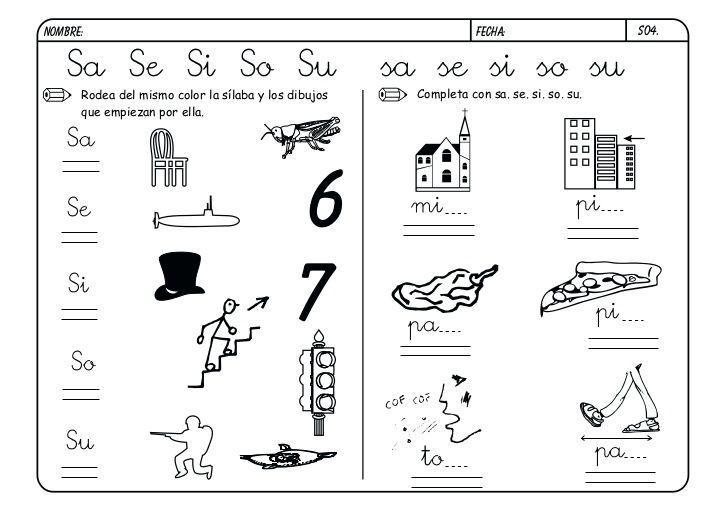 Silaba Dibujo: Resultado De Imagen Para Palabras Con Sa Se Si So Su