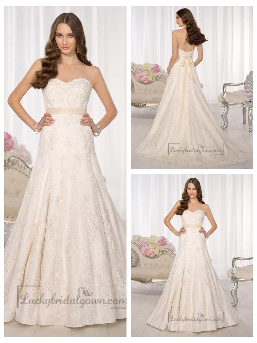Strapless sweetheart aline simple lace wedding dresses merry