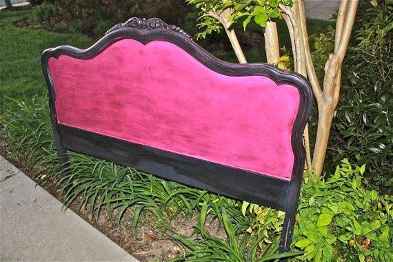 Pink and Black Vintage Headboard and Footboard/ Bedroom Furniture