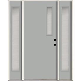 Reliabilt Spotlights 1 4 Lite Textured Glass Left Hand Inswing Infinity Gray Painted Fiberglass Prehung Entry Door With Glass Texture Entry Doors Grey Paint