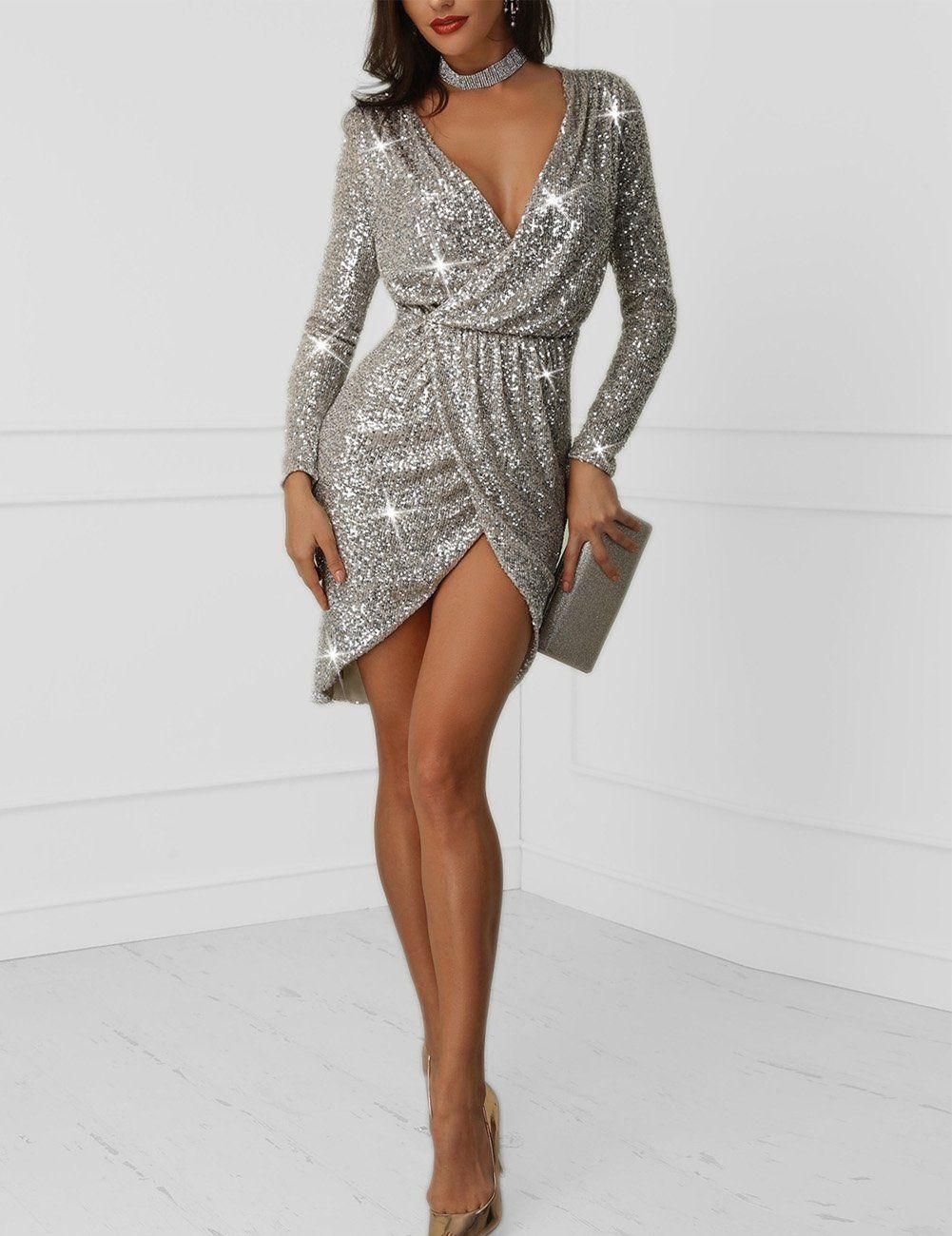 8cd17cae9850 Silver Plunge Wrap Overlap Split Hem Sequin Evening Party Prom Bodycon Dress