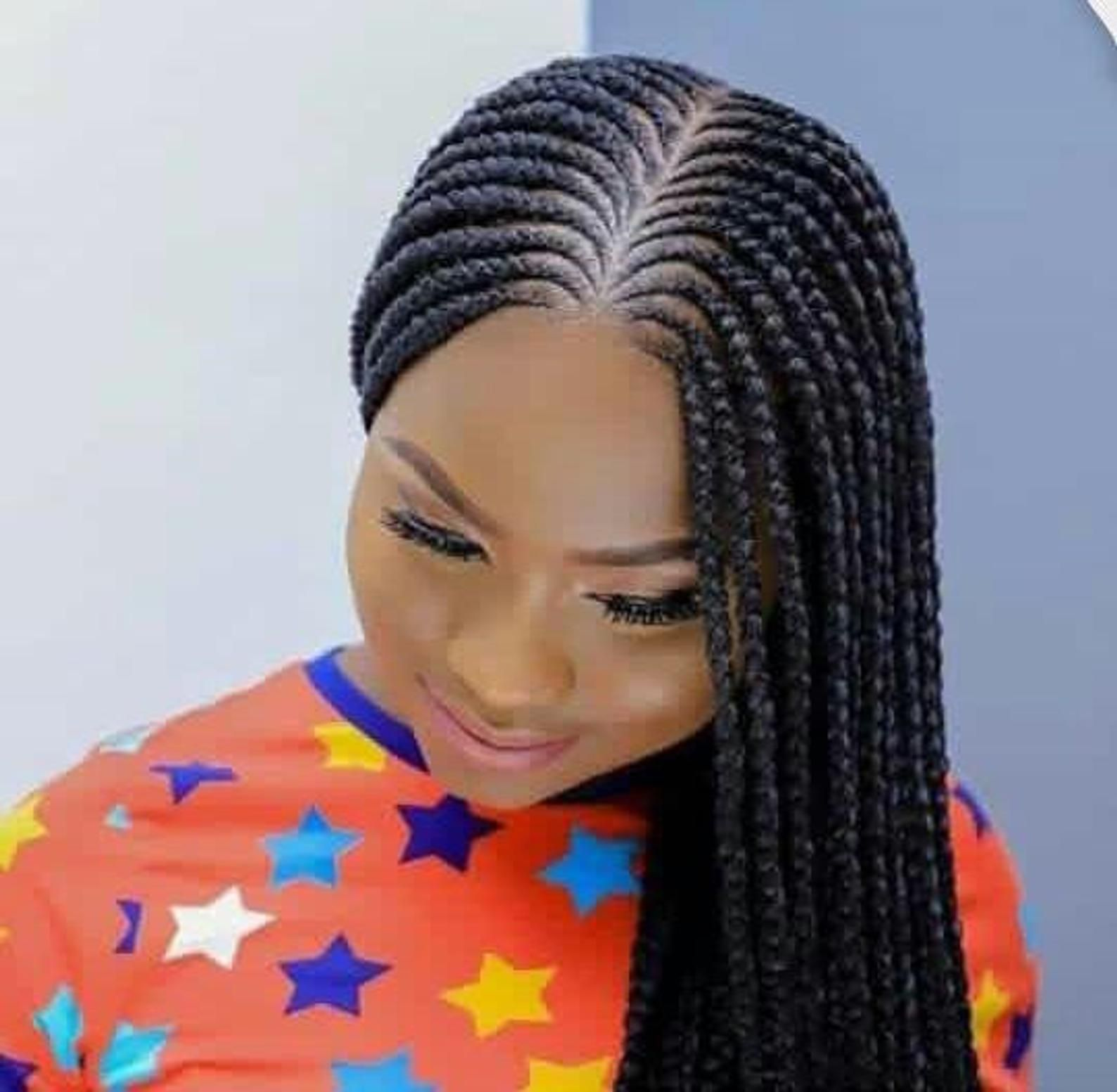 Nigerian African Braids Ready To Wear Wigs Ghana Weave Long Hair Wig Braids Centre Parted African Hair Braiding Styles Hair Styles African Braids Hairstyles