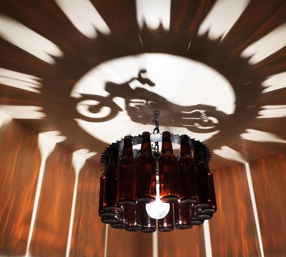 Motorcycle shadow Bottle Light chandelier by NunnikhovenArtStone ...