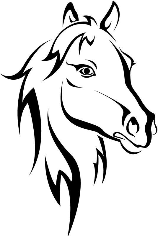 Horse Head Outline Farmyard Animals Wall Sticker Wall Art