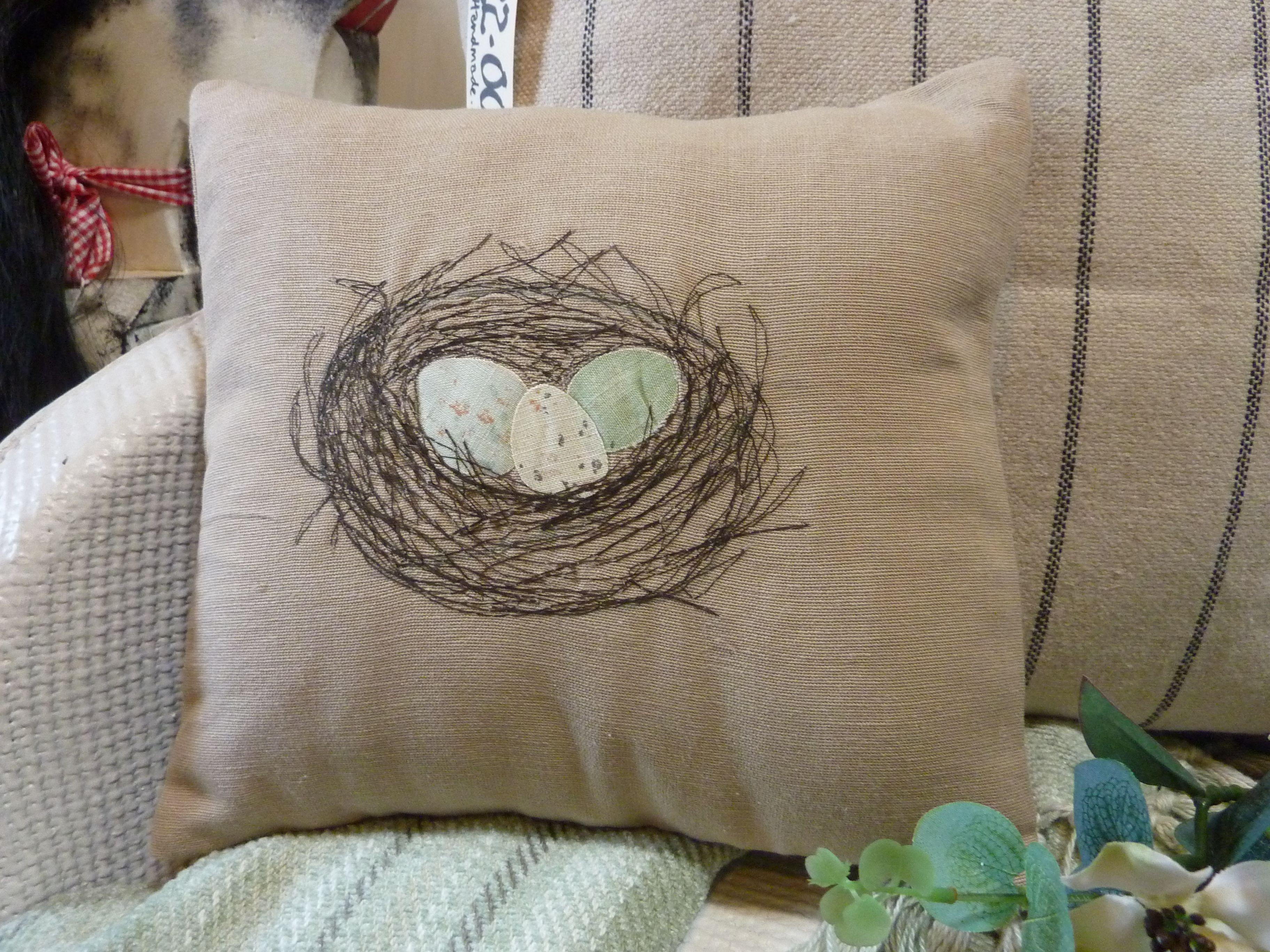 Handmade by little old me . . . . . nest cushion Cushion