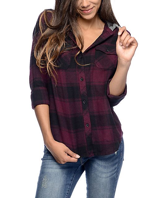 106f2b50 Gear up for the cool weather with the styling of the Bristol purple and  black plaid hooded flannel shirt for girls by Empyre. Your comfort needs  will be ...