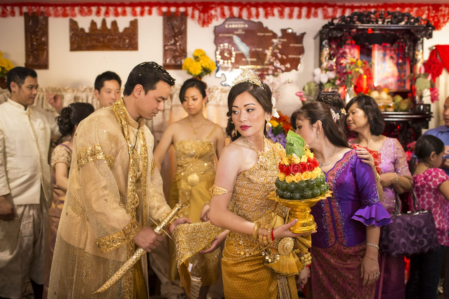Reception Ceremony For The First Shipment Of Cambodian: Bride And Groom In Cambodia Traditional Wedding Costumes