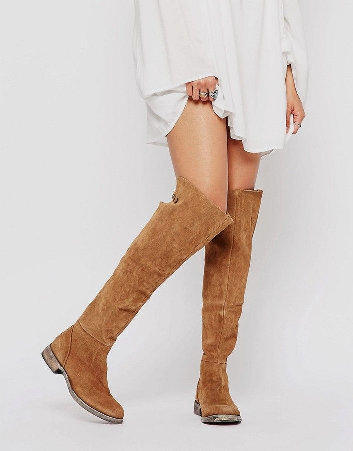 db497a2689b13 Glamorous Thigh High Taupe Chunky Heeled Over The Knee Boots