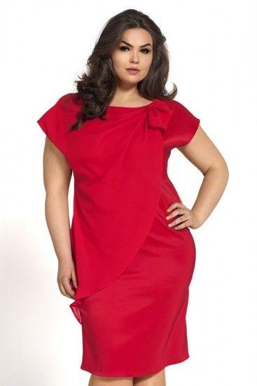 9d1d7771e8243c Kartes Moda Plus size Sukienka czerwona KM04-1PS | sukienki na ...