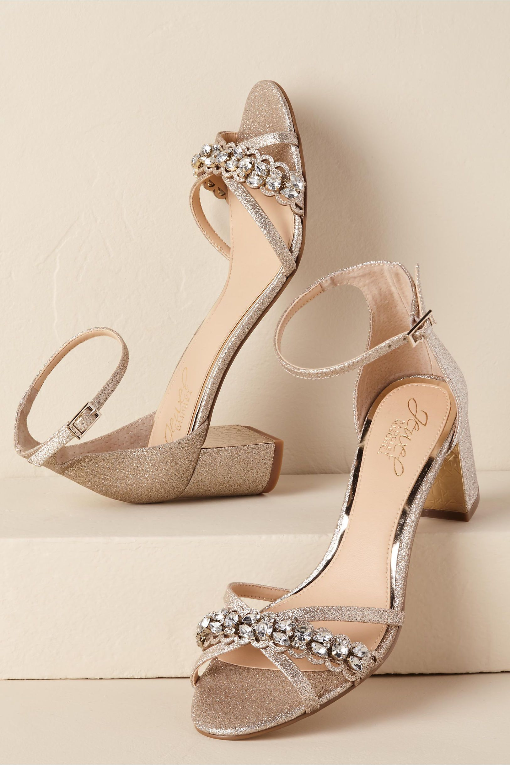 666798acb8ab BHLDN s Badgley Mischka Giona Block Heels in Gold. BHLDN s Badgley Mischka  Giona Block Heels in Gold Gold Block Heel Shoes