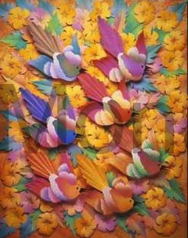 Mocking birds mocking flowers paper art leo monahan pinterest