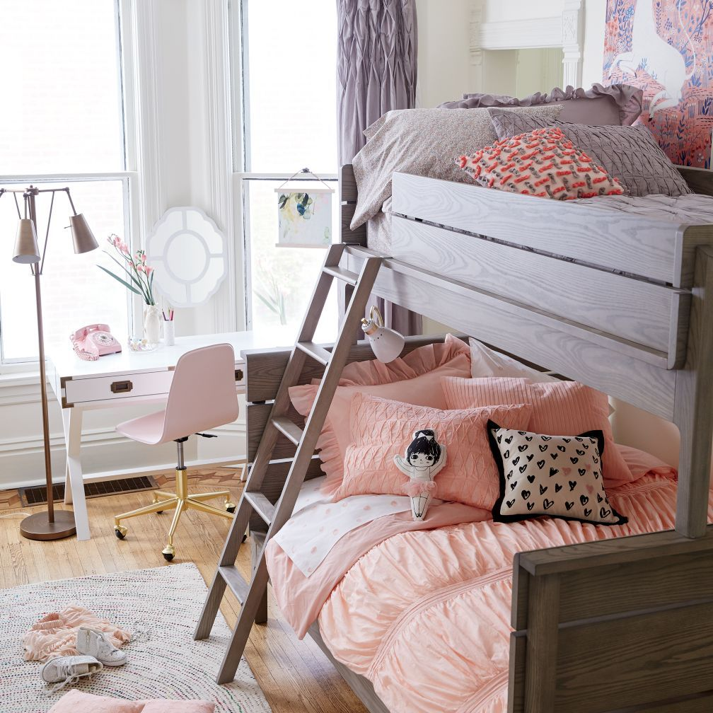 Loft over bedroom  Wrightwood TwinOverFull Bunk Bed  The Land of Nod  Baby girls