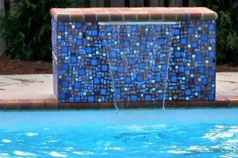 Pool Waterline Tile Ideas pool tile 6x6 tri state project with stone look 6x6 waterline tile tumbled Glass Tile Mosaic Pool Fountain Color Too Dark For Our Taste Should Blend Into