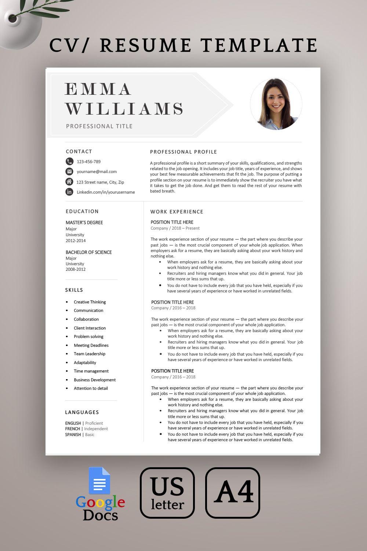 Creative Resume Template Photo Resume Template Cover Letter Etsy In 2021 Resume Template Resume Template Word Creative Resume Templates