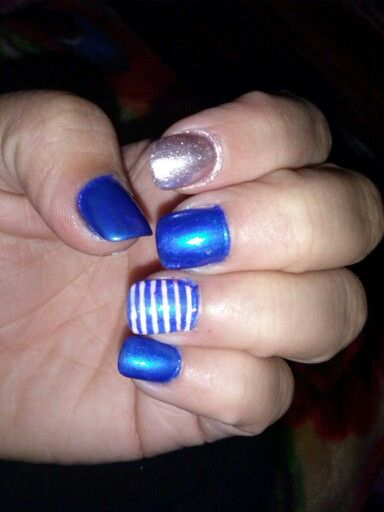 Blue,stripes, silver glitter