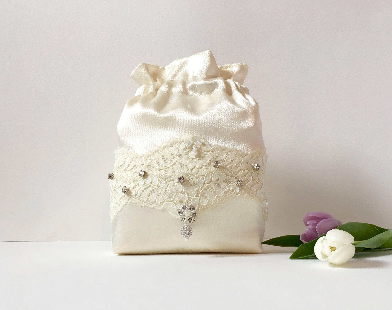 Wedding Bag Bridal Flower White Satin