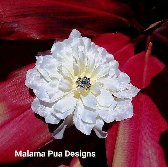 SILK HAIR FLOWER Clip White Aster Bridal Blue center by MalamaPua