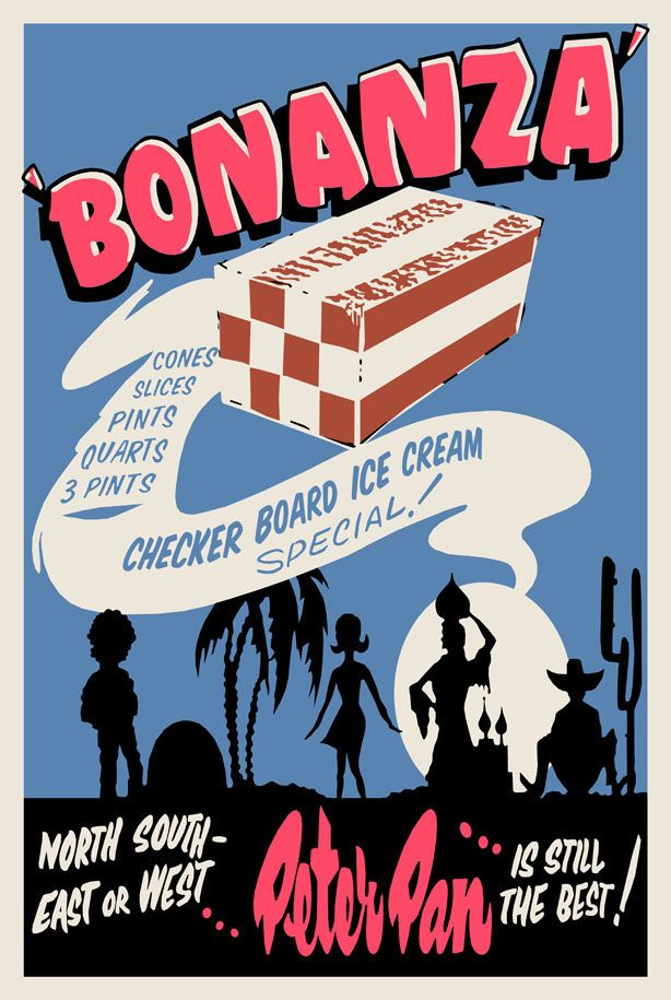 Recreation of a mid-late 1960s hand screen-printed poster for Peter Pan checkerboard ice cream, by Bob Godfrey.