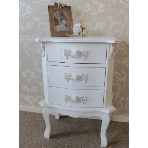 White 3 Drawer Bedside Pays Blanc Range White Bedside Table