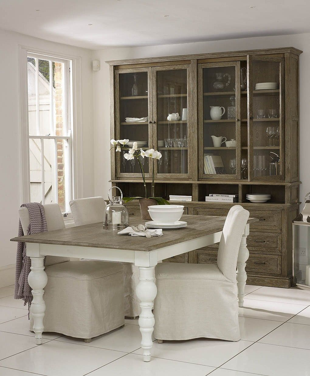 Rustic Kitchens Love The Greyish Table Top And Hutch Paint Mine Like This