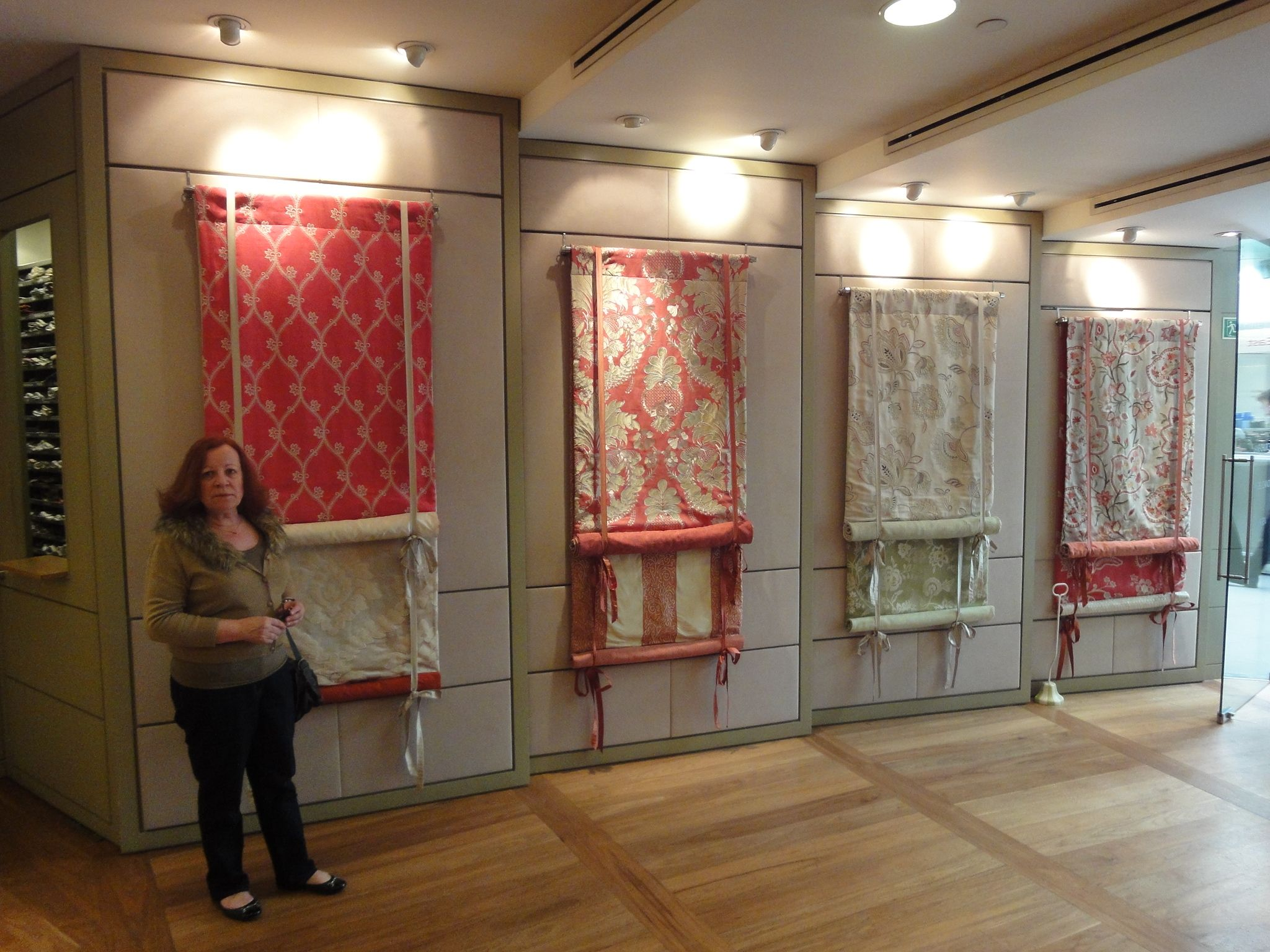 A display of london blinds in the osborne little for Curtain display ideas