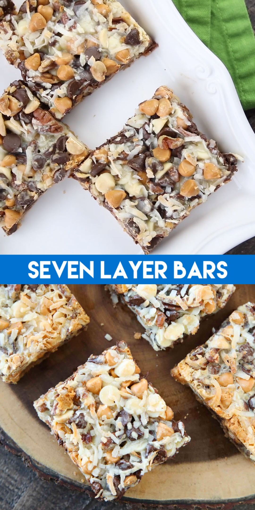 Seven Layer Bars, magic cookie bars, kitchen sink bars, hello dolly bars, whatever you call them, this classic dessert is easy and delicious. A graham cracker crust, chocolate, white chocolate, and butterscotch chips, nuts, and shredded coconut are melded together with sweetened condensed milk.