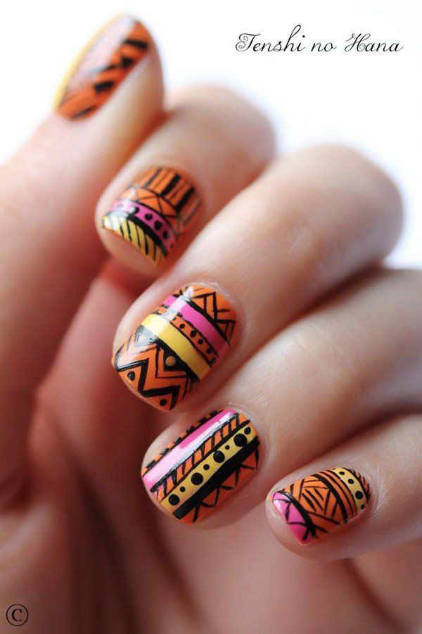 65 Colorful Tribal Nails Make You Look Unique | Funky nail art, Fun ...