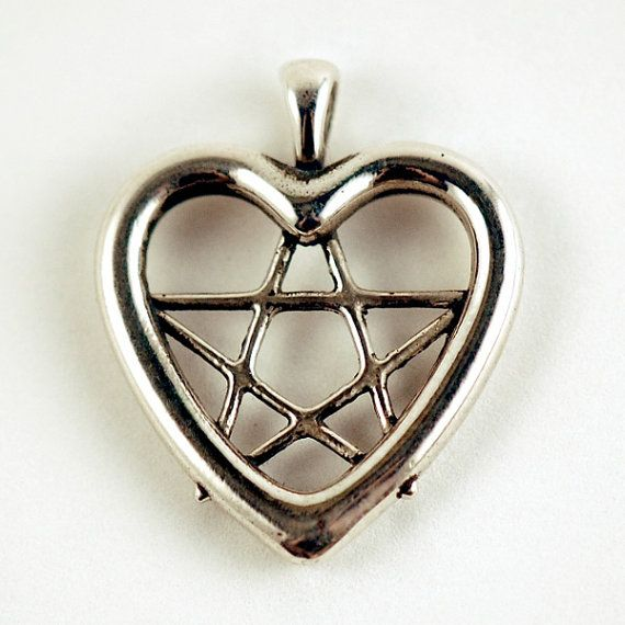 Heart Pentacle Love Pentagram Sterling by OdysseyCraftworks