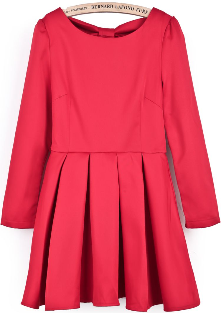 Red long sleeve backless bow pleated dress us chic sheinside