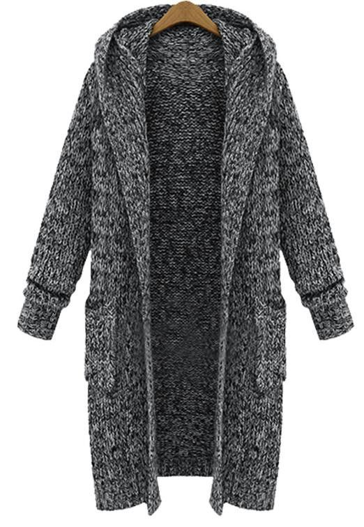 Beautiful Thick Warm Knitted Long Hooded Cardigan Sweater M-5XL ...