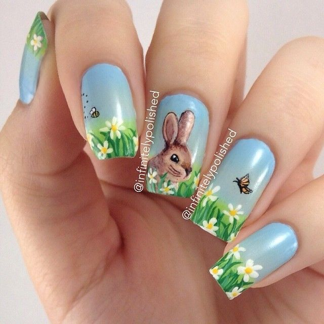 15 Cute Easter Bunny Nail Art Ideas – Best Simple Home DIY Manicure Designs  - HoliCoffee - 15 Cute Easter Bunny Nail Art Ideas – Best Simple Home DIY Manicure
