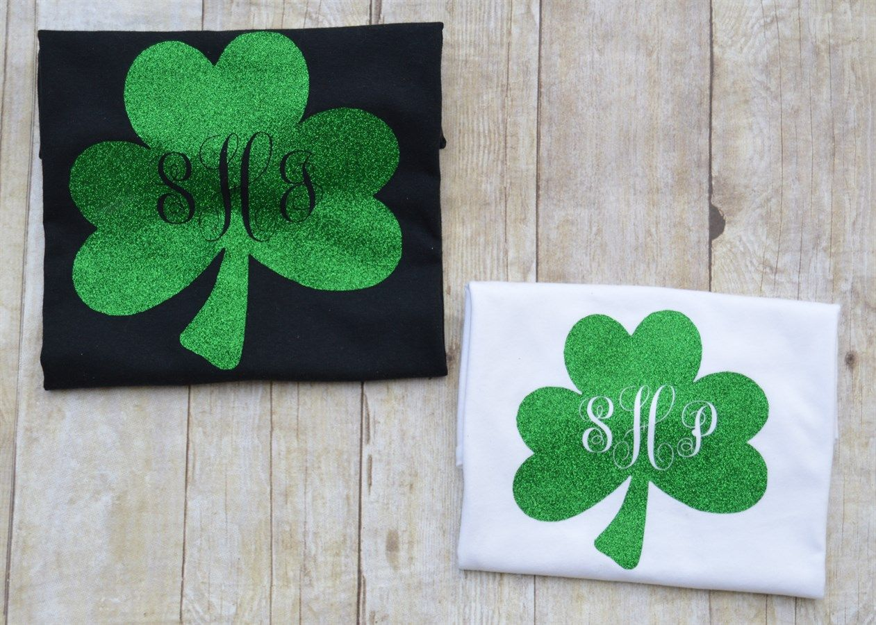 9a3b2d3e9 Monogrammed St. Patricks Day Green Glitter Shamrock T-Shirt Youth and Womens  Sizes | Jane