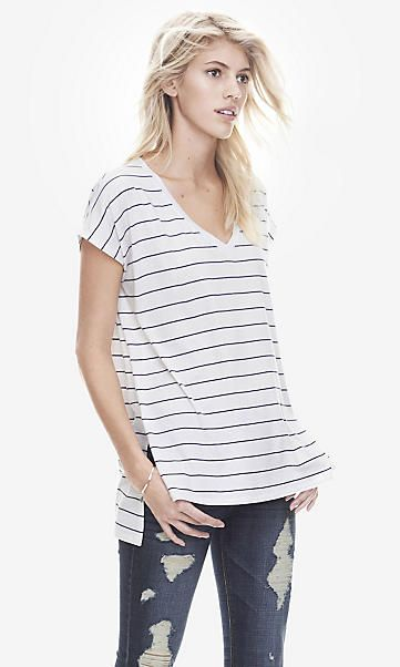 white one eleven striped drop hem tunic tee