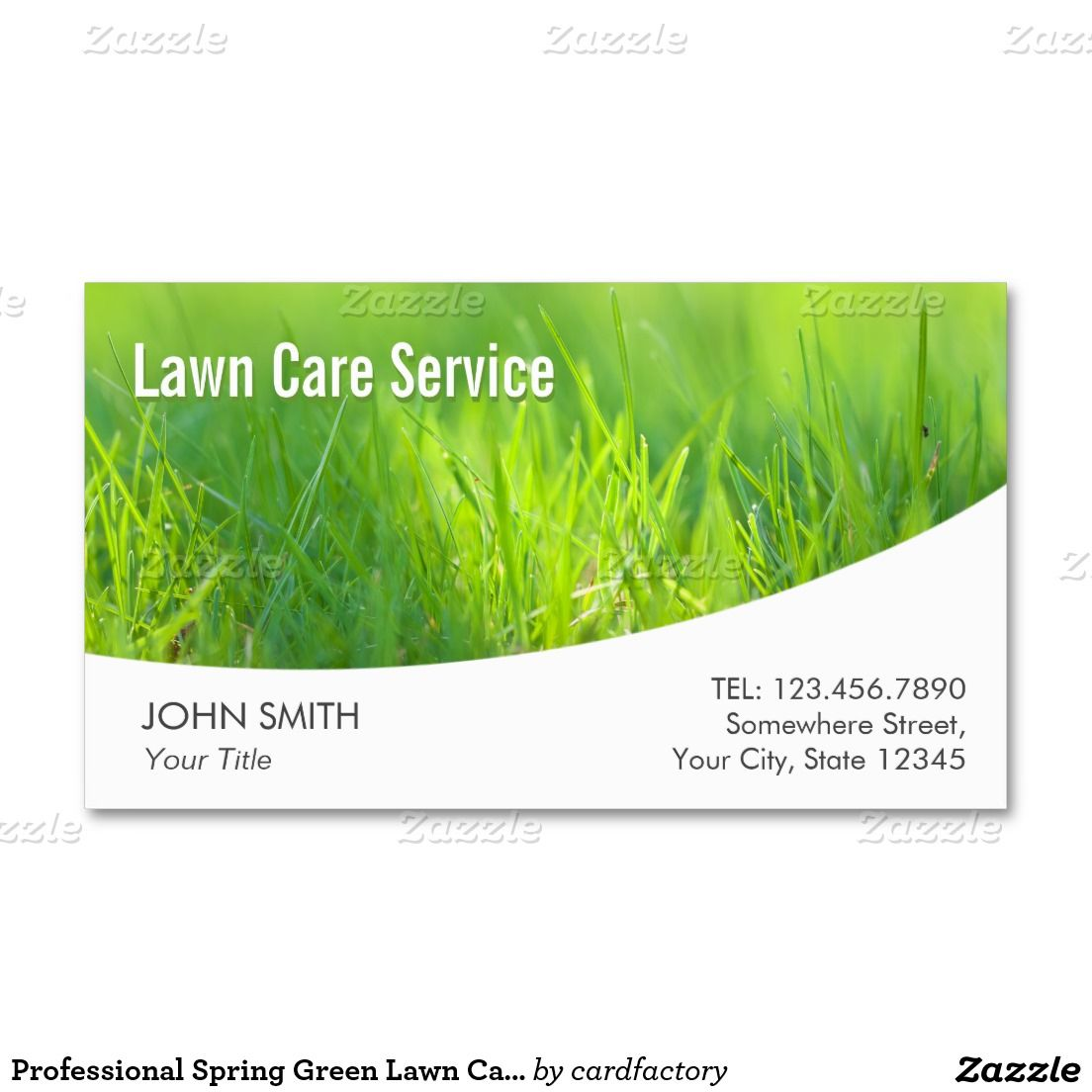 Professional Spring Green Lawn Care Business Card | Landscaping ...