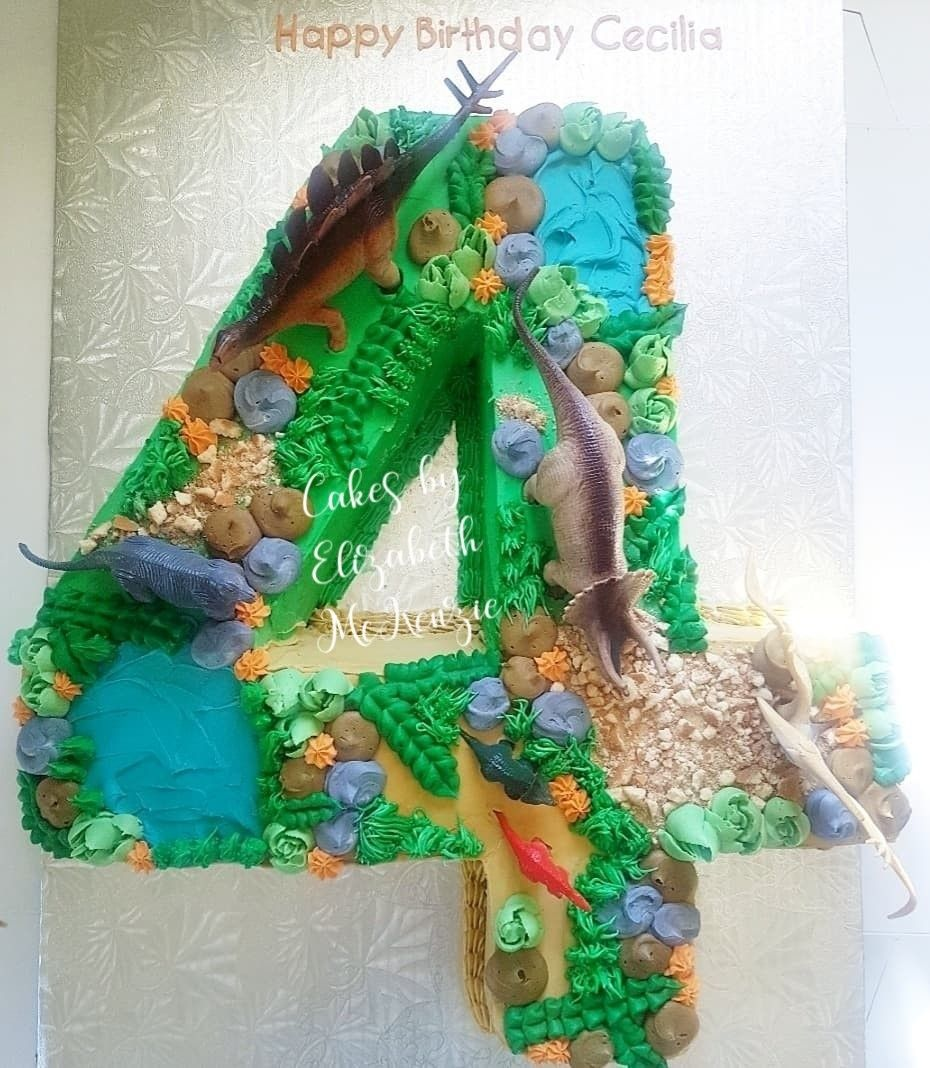 3d style number 4 cake in 2020 | Dinosaur birthday cakes ...