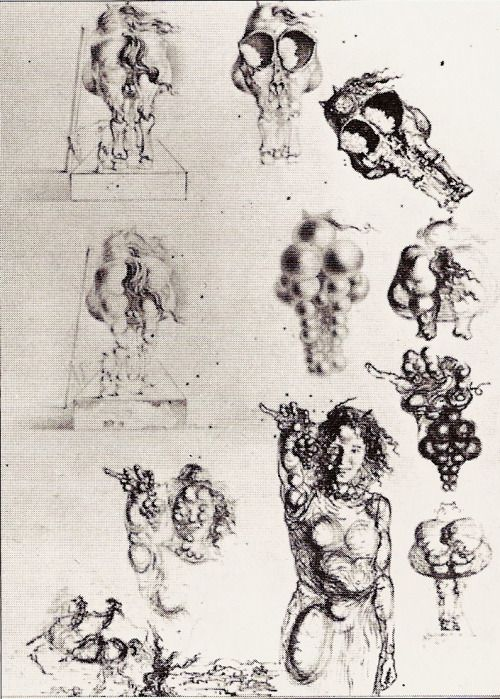 S. Dalí, study for The Outskirts of the Paranoiac-Critical City, ink and pencil on paper; 1935