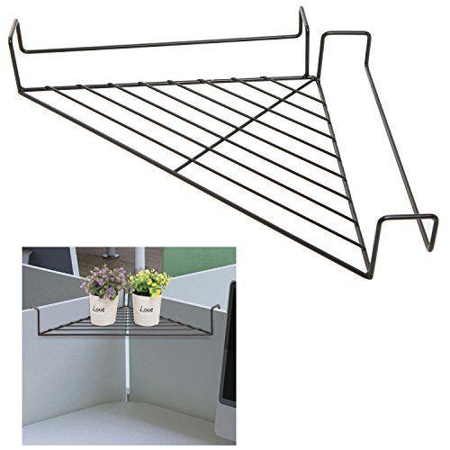 Black Modern Metal Hanging Office Cubicle Corner Shelf / Floating Cubicle  Wall Organizer Display Rack,