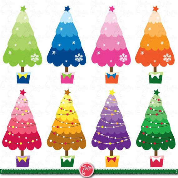 Christmas Clipart Christmas Tree Clip Art Colorful Christmas Tree Cm013perfect For Scrapbook Cards I Christmas Tree Art Christmas Drawing Christmas Tree Crafts
